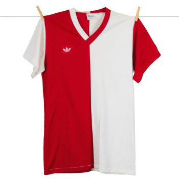 1979 - 1980 Adidas Feyenoord thuisshirt Rood-wit, Rugnummer 20, Made in West-Germany