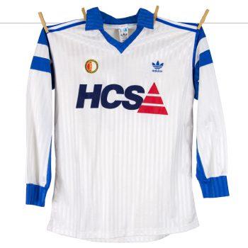 1990 - 1991, Feyenoord uitshirt, ommekeershirt met rugnummer 10, het witte HCS shirt
