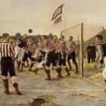 Feyenoord in 1908 in de bekende 'Wilhelmina' shirts